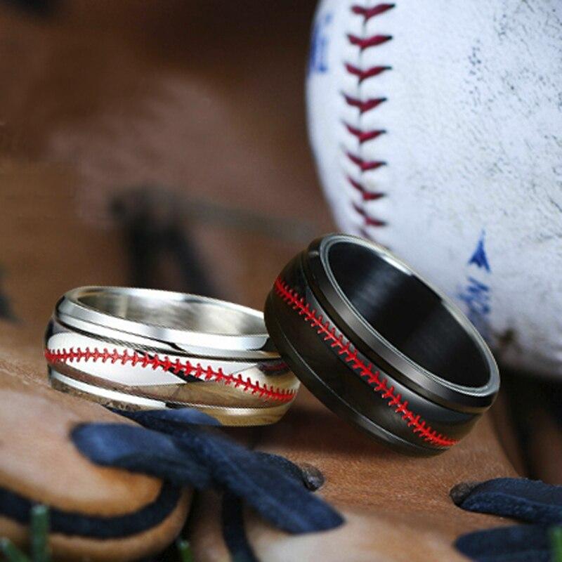 Мужской Спиннер из нержавеющей стали бейсбол обручальное кольцо с красной строчкой спиннинг кольца обручальное кольцо