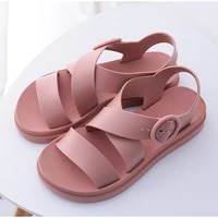 mcckle womens sandals shoes gladiator open toe buckle soft jelly sandals female casual women flat platform beach shoes 2021