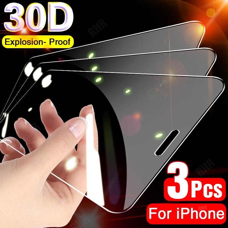 3 unidades de película protectora de vidrio templado para iphone 11 Pro XS Max protector de pantalla iPhone X XR 7 8 6 6s Plus SE 2020 vidrio