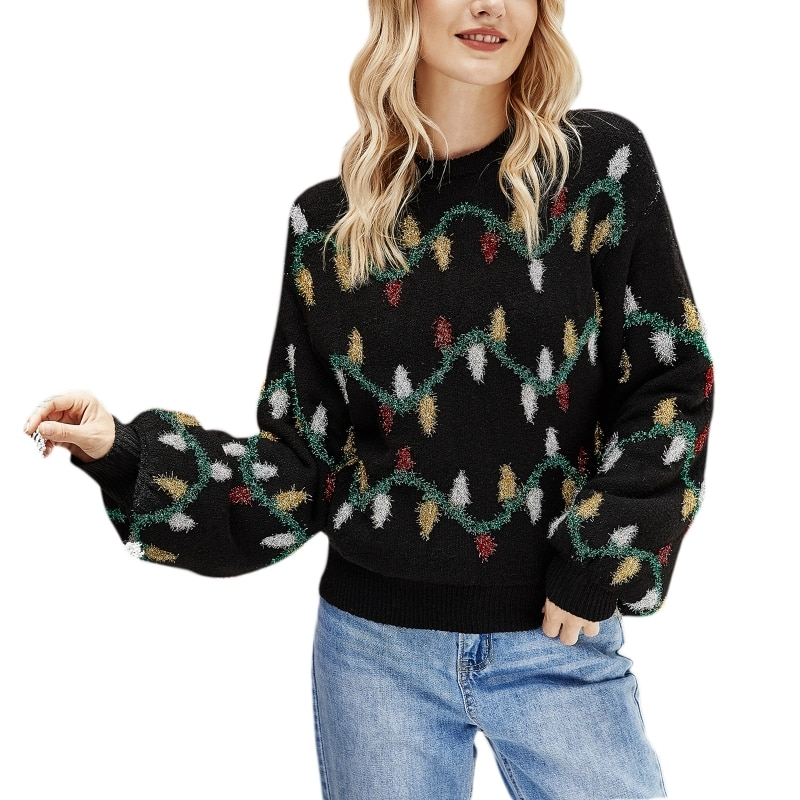 Women Christmas Long Sleeve Sweater Tinsel Colorful Lights Knitted Jumper Top enlarge