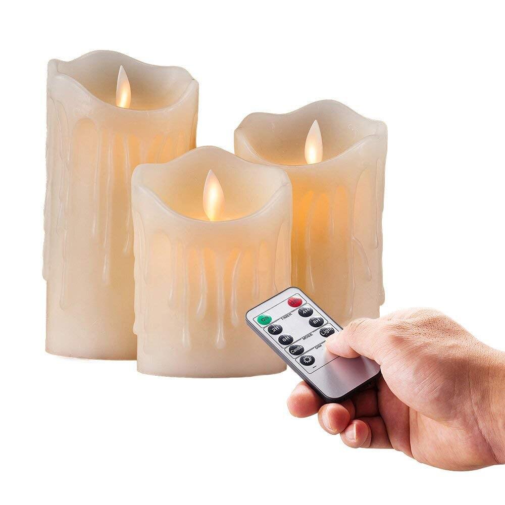 Набор из 3 мерцающий беспламенный столб светодиодный пульт дистанционного управления свечи светодиодный Таймер движущийся танцующий фити...