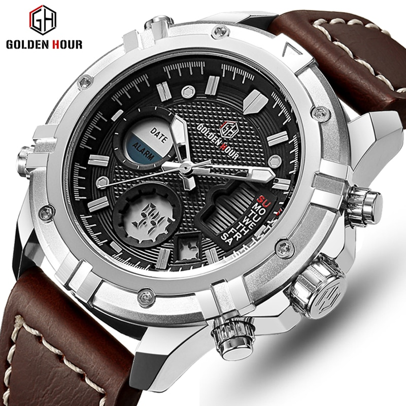 GOLDENHOUR Chronograph Watch Men Sports Watches Led Display Digital Analog Quartz Wristwatches Reloj Hombre Relogio Masculino weide men watches sports military strap white dial movement analog clock quartz wristwatches waterproof relogio masculino reloj