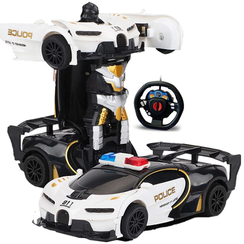RC Car 2 in 1 Transformation Robots Cars Action Collision Deformation Remote Control Sports Driving Vehicle Toy for Children J02