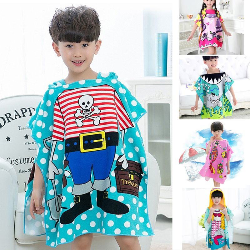 1 Pza cómodo Albornoz para niños lindos patrones de dibujos animados suave capa con capucha Albornoz manta niños niño bebé Toalla de baño