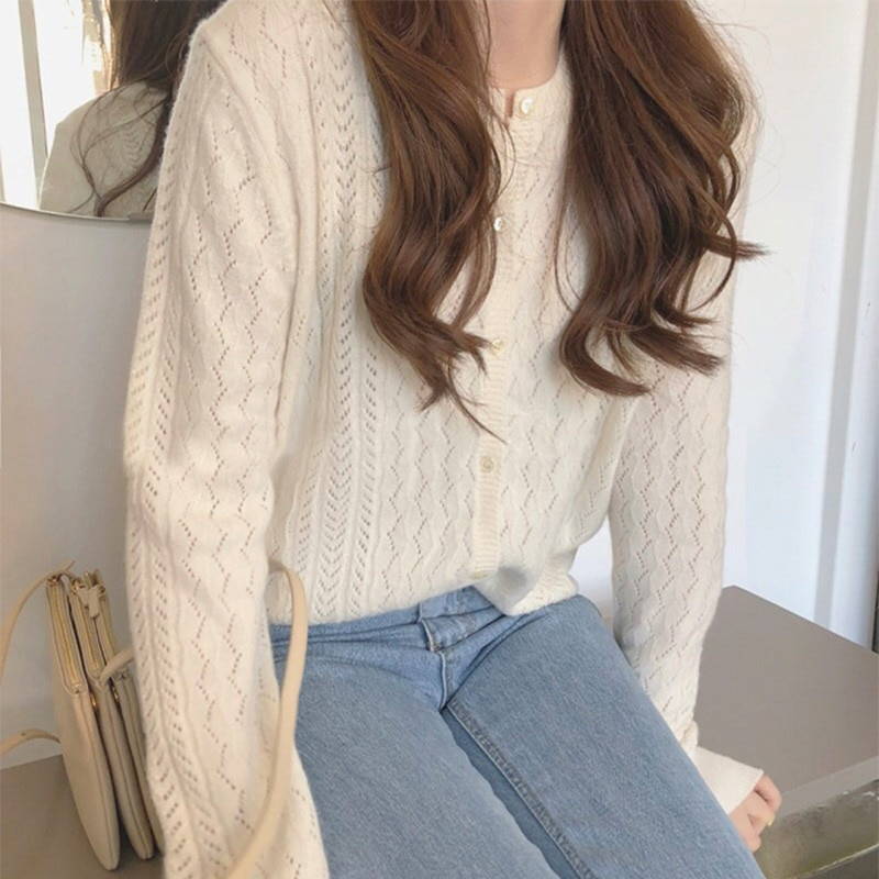 2021 spring and autumn new hollow out round neck cashmere cardigan women look thin fashion loose knit net red sweater coat thin