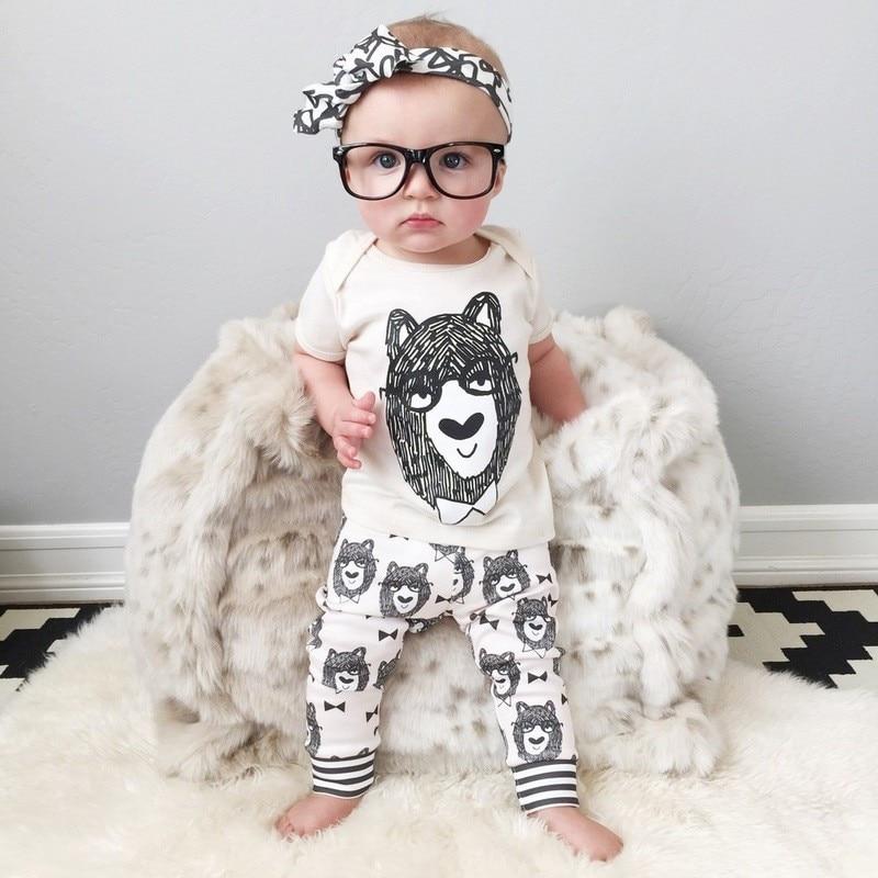 Cotton 2pcs Newborn Clothes Cute Cartoon Baby Boy Clothes Tops Pants Outfit Suits Baby Tracksuit Set T08