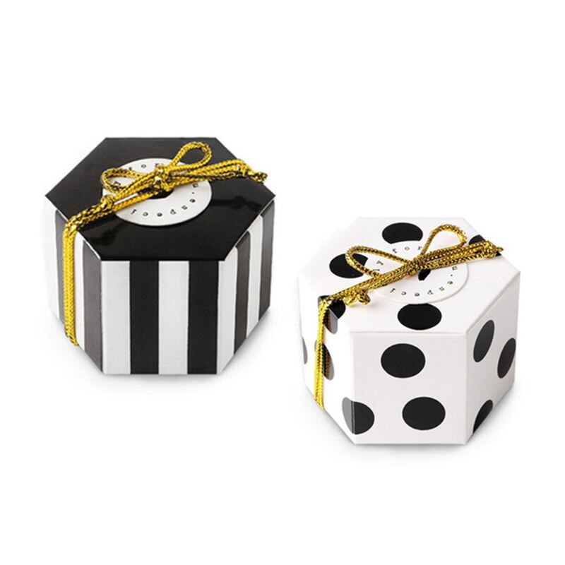 Caja hexagonal de caramelos a granel con cinta dorada y tarjeta redonda, rayas negras, paquete de 50