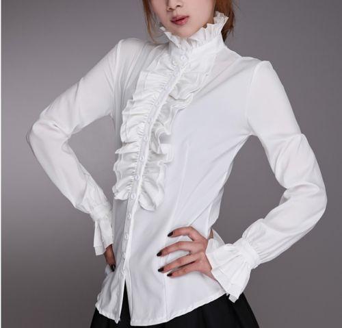AliExpress - Fashion Victorian Blouses Women OL Office Ladies White Shirt High Neck Frilly Ruffle Cuffs Shirts Female Blouse