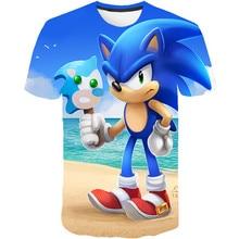 T-shirt pour enfants filles garçons   T-shirt dété en polyester, dessin animé Sonic the hérisson imprimé T-shirt, vêtements pour enfants