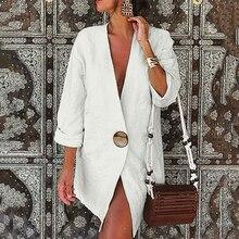 Costume formel Blazer vêtements dextérieur coton et lin pour femme, à manches longues, manteau OL Slim, grande taille, collection automne vêtements coupe large