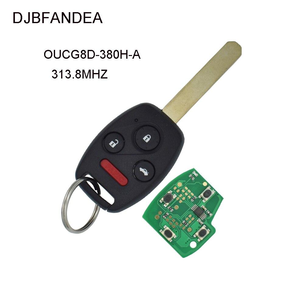 DJBFANDEA 4 botones 313,8 Mhz llave remota del coche para Honda Accord 2003 2004 2005 2006 2007 llavero sin llave con chip ID46