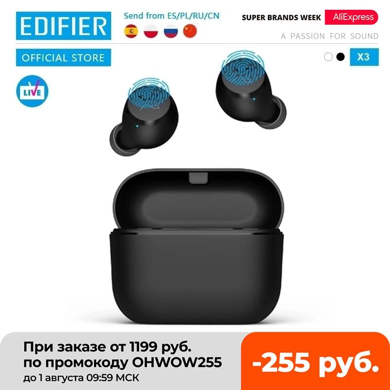EDIFIER X3-سماعة أذن لاسلكية ، TWS، تعمل بتقنية بلوتوث 5.0, مساعد صوتي، تحكّم باللمس، تشغيل حتى 24 ساعة
