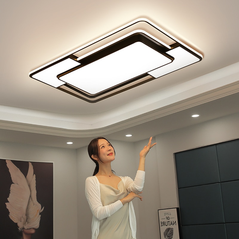Modern LED Ceiling Lights Black Dimmable With Remote Square Rectangle Lighting Led Ceiling Lamps for Living Room Bedroom Kitchen botimi modern led ceiling lights wooden square ceiling lamp with dimming remote for living room dining light wood bedroom lamps