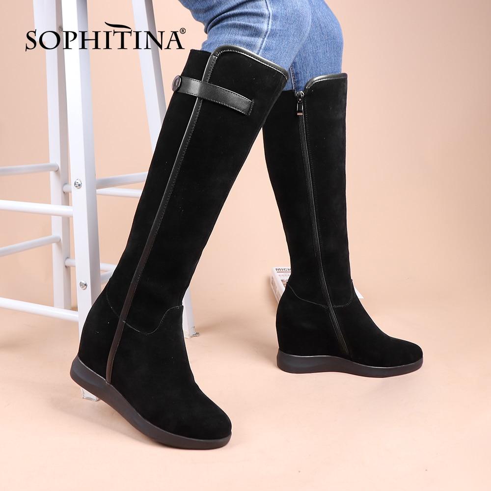 Женские высокие сапоги SOPHITINA, замшевые сапоги до колена на молнии, с круглым носком, увеличивающие рост, черного цвета, PC923