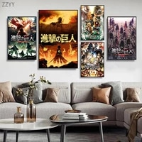 japanese anime movies attack on titan posters and prints canvas painting comic wall art pictures for living room home decoration