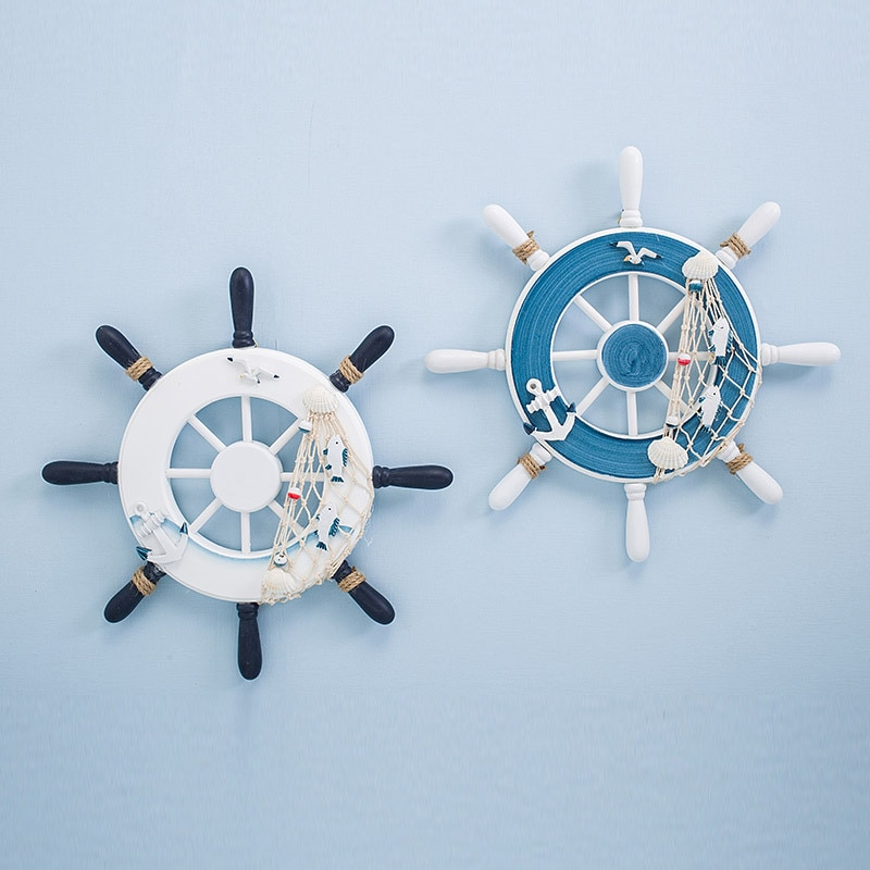 Nautical Decor Wooden Ship Wheel Boat Steering Rudder Wall Decor Door Hanging Ornament Beach Theme Home Decoration