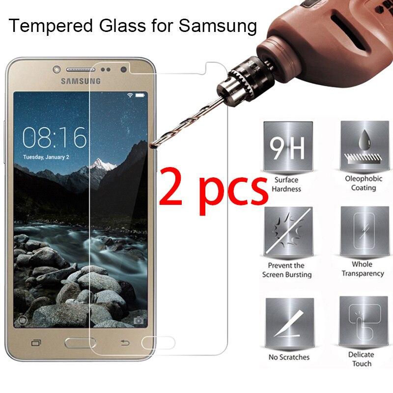 ¡2 uds! Protector de pantalla de vidrio templado endurecido para Samsung J7 J5 J3 Pro 2017 9H HD móvil película frontal para Galaxy J7 J5 J2 Prime