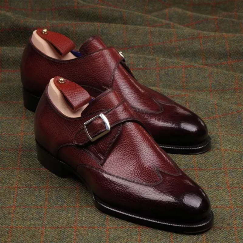 Men's High-end Burgundy PU Lychee Pattern Pointed Toe Single Buckle Low Heel Comfortable Fashion Cas