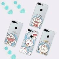 doraemon cartoons anime phone cases transparent for huawei p 40 20 30 10 mate pro lite plus smart phone case