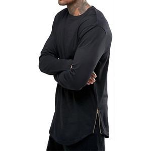 Fashion Hip Hop Streetwear T Shirt Men Casual Zipper Tshirt 2022 Brand Long Sleeve Cotton Tee Shirt Homme High Street T-shirt