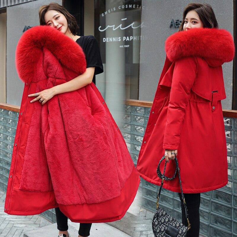 المرأة القطن بطانة باركر سترة الخريف الشتاء مقنعين الفراء طوق سميكة معطف دافئ متوسطة طويلة قابل للتعديل الخصر حجم كبير جاكيتات