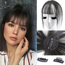 WEILAI Black Light Brown Clip On Bangs Hairpieces for Women Bangs Clip In Hair Extensions Synthetic High Temperature Fiber