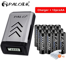 Palo 4-16 stücke AA Batterie Aa Batterie 1,2 V 3000mAh Ni-Mh AA batterie für kamera spielzeug licht + AA AAA batterie USB ladegerät