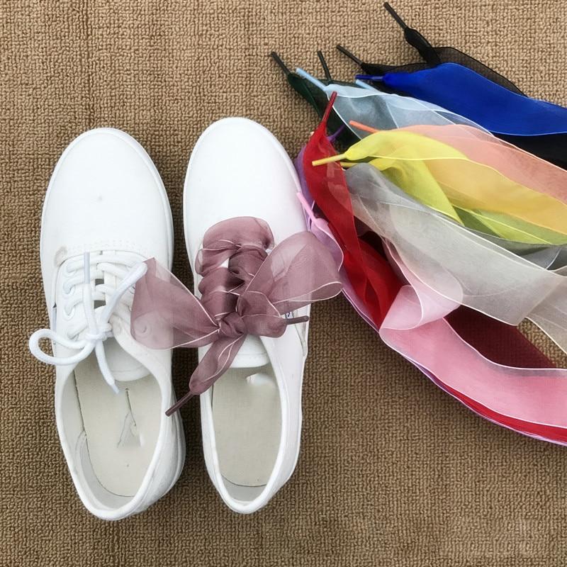 1 par de cordones de Organza a la moda de 110cm, amplio satén, zapato con cinta plana, cordones para zapatillas deportivas, zapatos sin cordones, accesorios de cuerda