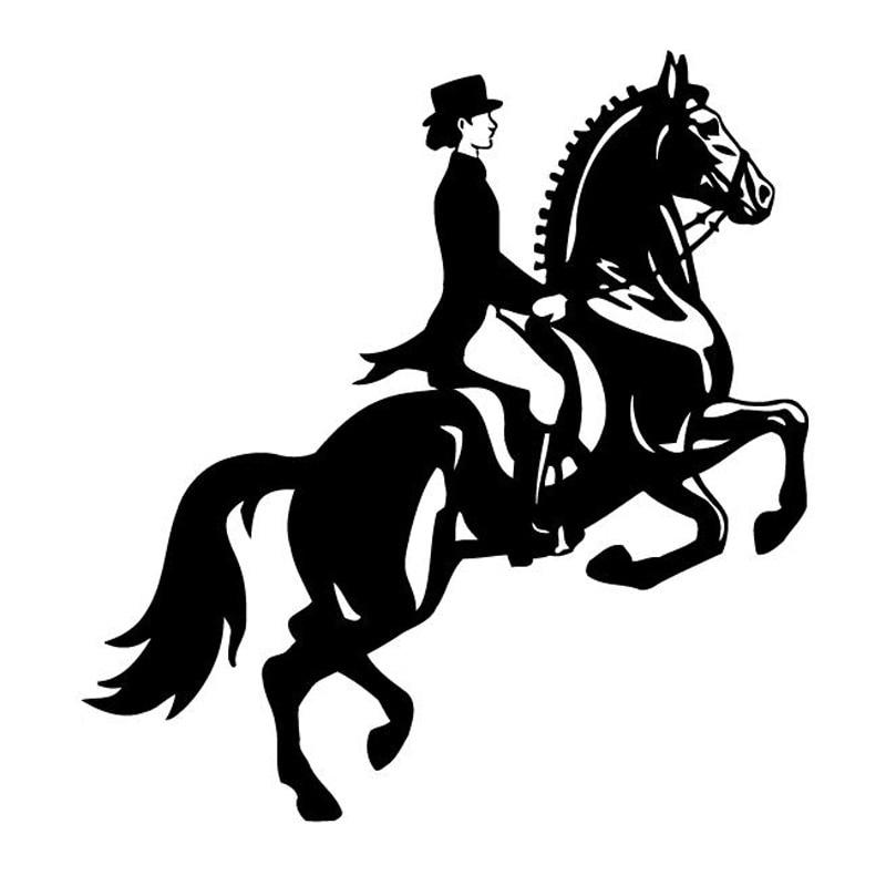 Автомобильная наклейка, новинка, женская модная Автомобильная наклейка для гонок с лошадьми, стильная Автомобильная наклейка, черный/сереб...