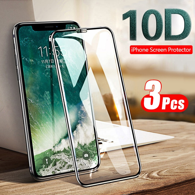 1-3Pcs 10d Volledige Cover Gehard Glas Voor Iphone 12 11 X Xr Xs Max 8 7 6S 6 Pro Max Screen Protector Screen Film Glas Cover
