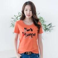 80 mercerized cotton t shirt womens round neck flocking spring and summer short sleeve t shirt temperament korean 6908