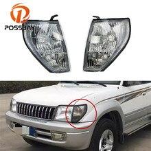 POSSBAY Clear Lens Car Front Turn Signal Lamp Indicator Side Corner Light Frame Without Bulb For Toyota Land Cruiser Prado 2000