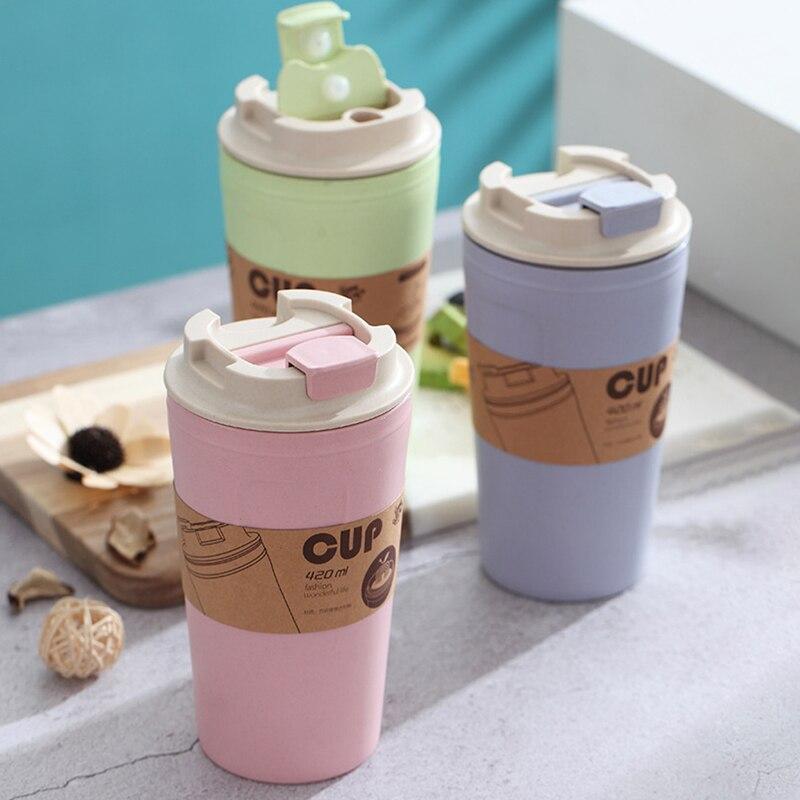 1 Uds., botella de agua o café para viaje de oficina, fibra de bambú, vasos con pajita rectangular, a prueba de fugas, gran capacidad, 3 colores