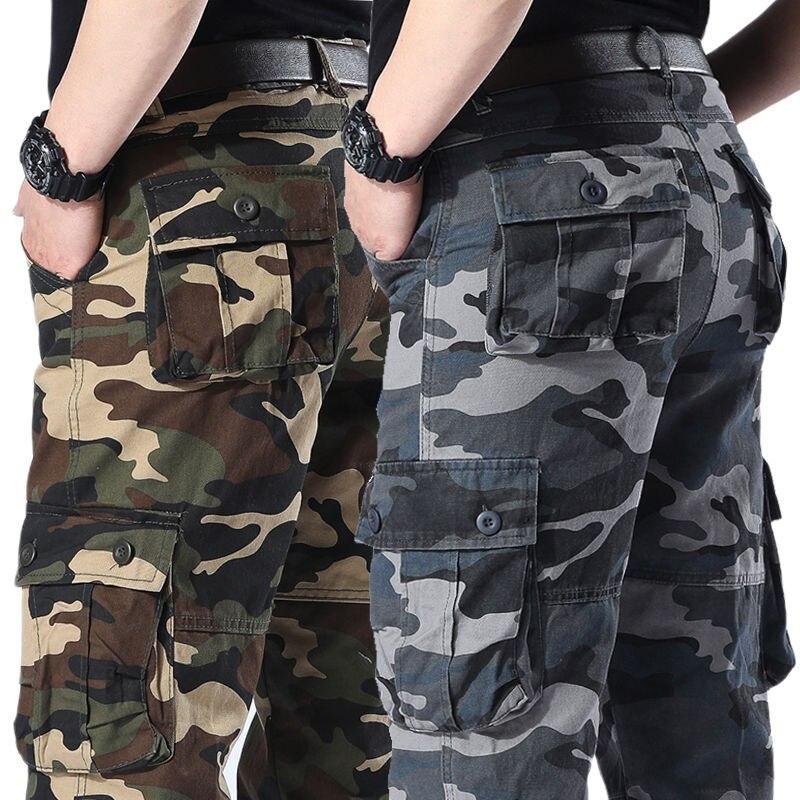 Брюки-карго мужские камуфляжные, хлопковые прямые штаны в стиле милитари, повседневные штаны для работы, Слаксы с несколькими карманами