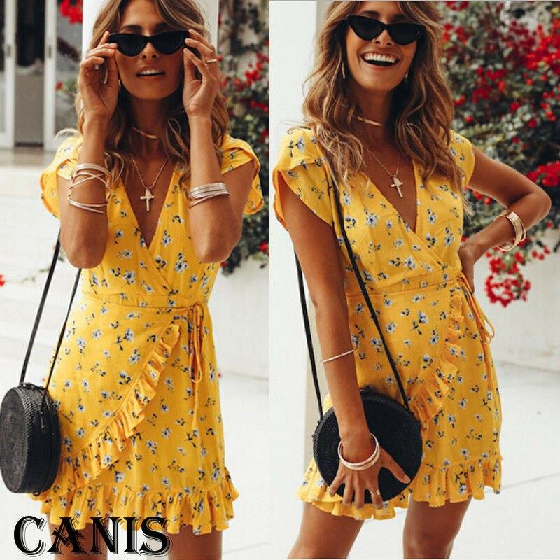 Women Deep V Neck Wrap Mini Dress Ladies Summer Beach Floral Ruffle Yellow Sun Dress 2019 Summer High Quality Women Clothes
