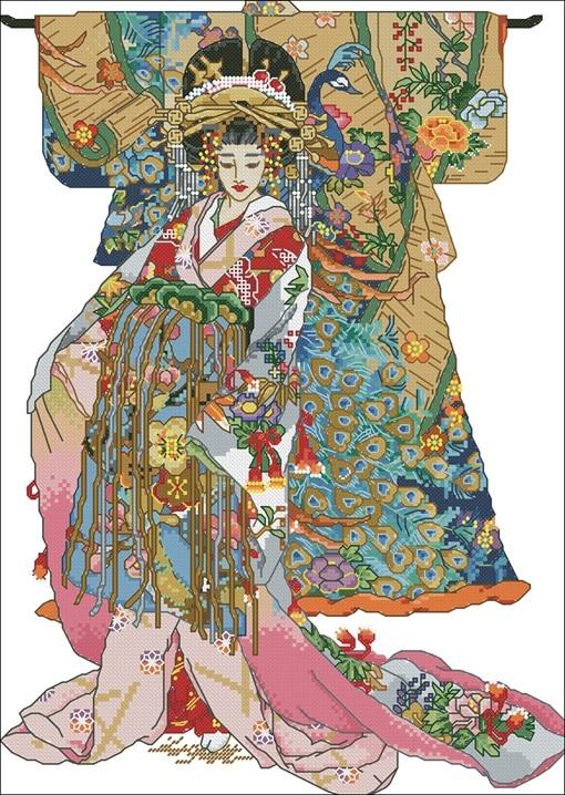 Kits de punto de cruz de algodón auténtico de grapa larga de Egipto con aguja-kit Bucilla 45950 - Kimono para mujer