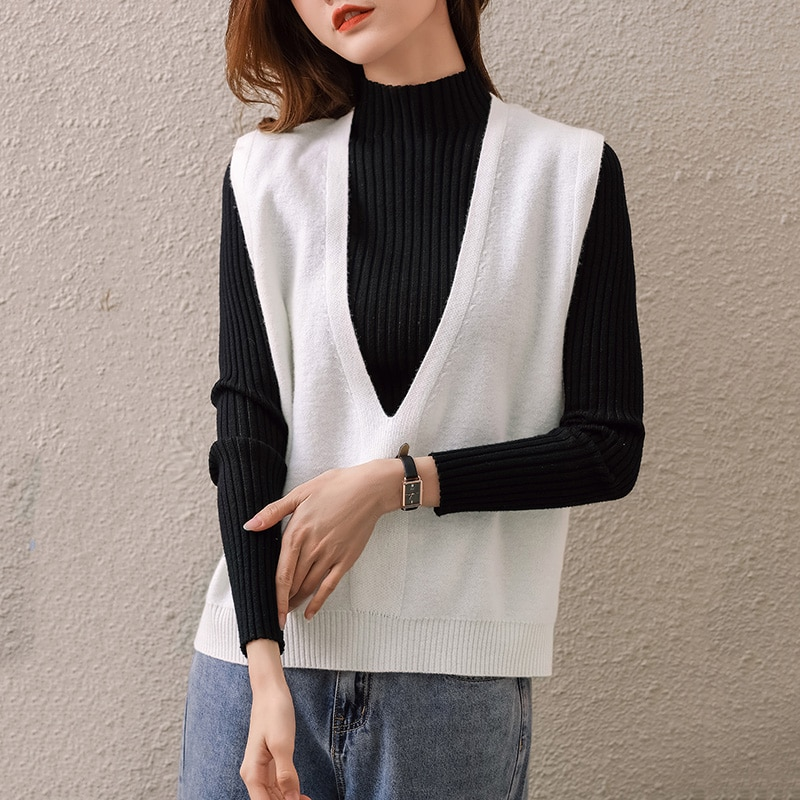 Woman Sleeveless 100% Merino Wool Knitted Vest Sexy Fashion Low V-Neck Sleeveless Ladies Jumpers Hot Sale Woman Knitwears enlarge