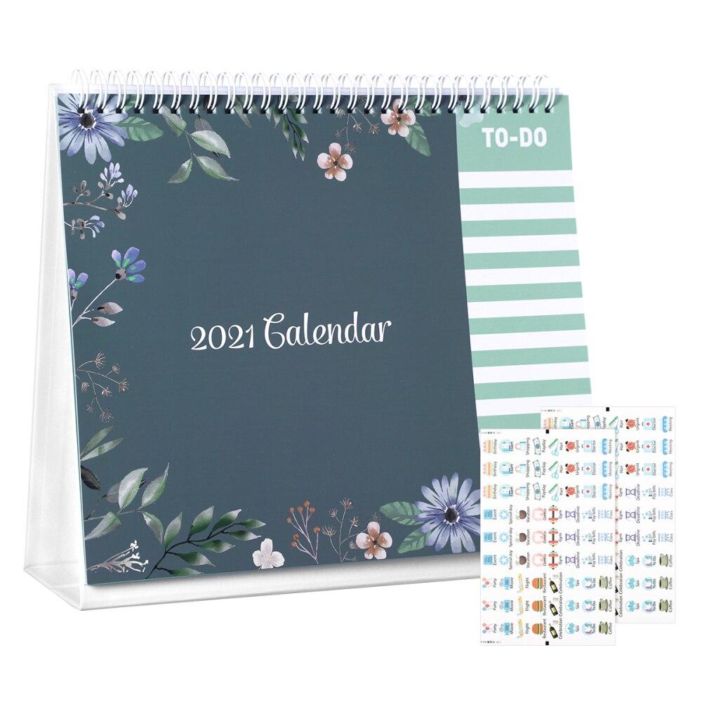 STOBOK 2021 Desk Calendar 12 Months Standing Calendar Runs from January 2021 to 2021 Daily Planner 2021 Full Year Calendar Bonus