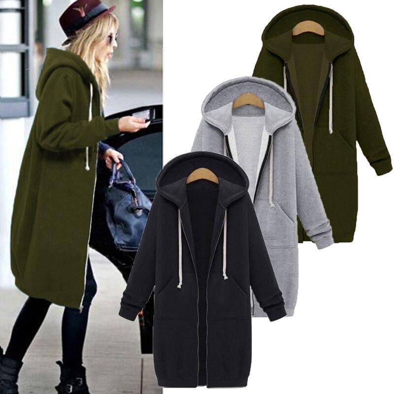 Осень 2020, Повседневная Женская Длинная толстовка, свитшот, пальто на молнии, верхняя одежда, куртка с капюшоном, зимняя верхняя одежда с карм...