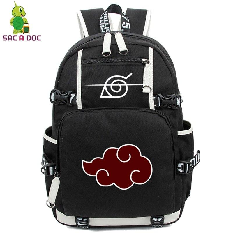 Mochila de Anime Naruto mochilas escolares bolso de adolescentes Akatsuki Itachi Sharingan Cosplay niños niñas bolsos de ordenador portátil mochila de viaje