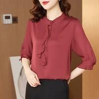 womens shirt chiffon blouse for women three quarter solid shirt female top stand neck ruffles blouse top woman 2021 clothing ol