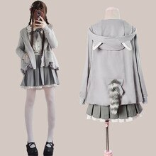 Autumn winter japanese college daily sweet lolita set cute raccoon coat+shirt+skirt kawaii girl three pieces set loli cosplay