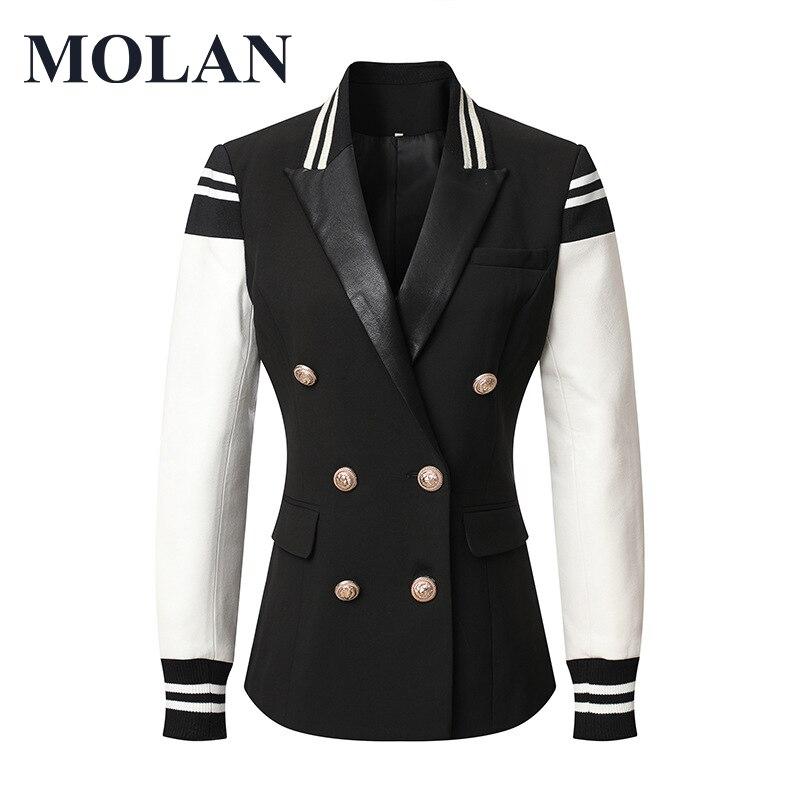 Кожаная куртка MOLAN в английском стиле, женская модная повседневная куртка в стиле пэчворк, двубортная Женская стильная Классическая куртка,...