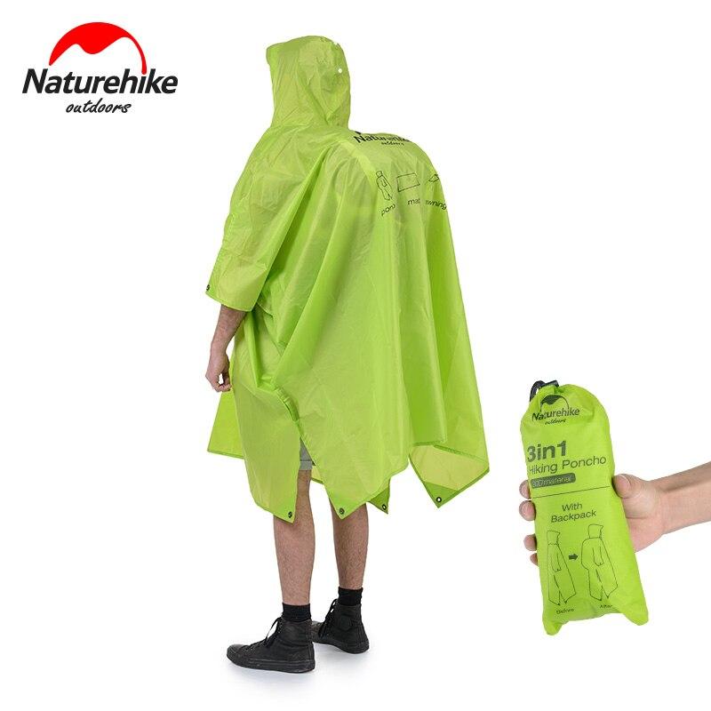 NatureHike непромокаемое пончо, дождевик для активного отдыха, кемпинга, пеших прогулок, езды на велосипеде с капюшоном для мужчин, женщин, мужчин, легкий рюкзак для взрослых