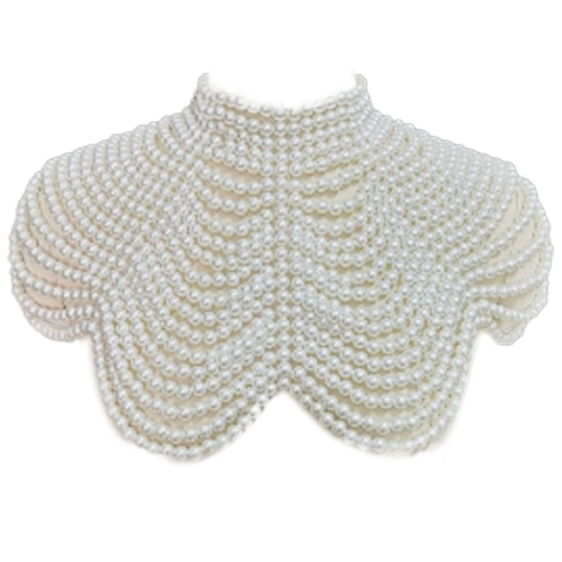 AliExpress - Women Faux Imitation Pearl Necklace Shawl Beaded Body Chain Bib Collar  Party Jewelry Necklace for Women Goth Drop Shipping