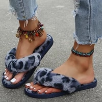 winter women home slippers with faux fur fashion warm shoes woman slip on flats female slides leopard plus size 43