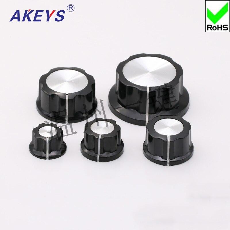 10 Uds KN-A03 perilla de plástico de goma A03 perilla sombrero interruptor de volumen de Audio perilla potenciómetro giratorio sombrero