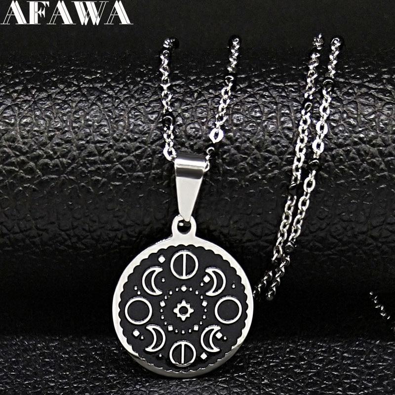 Moda Lunar Cycle Moon fase acero inoxidable negro esmalte colgante collar redondo Galaxy Collar para Mujeres Hombres joyería N1850S2
