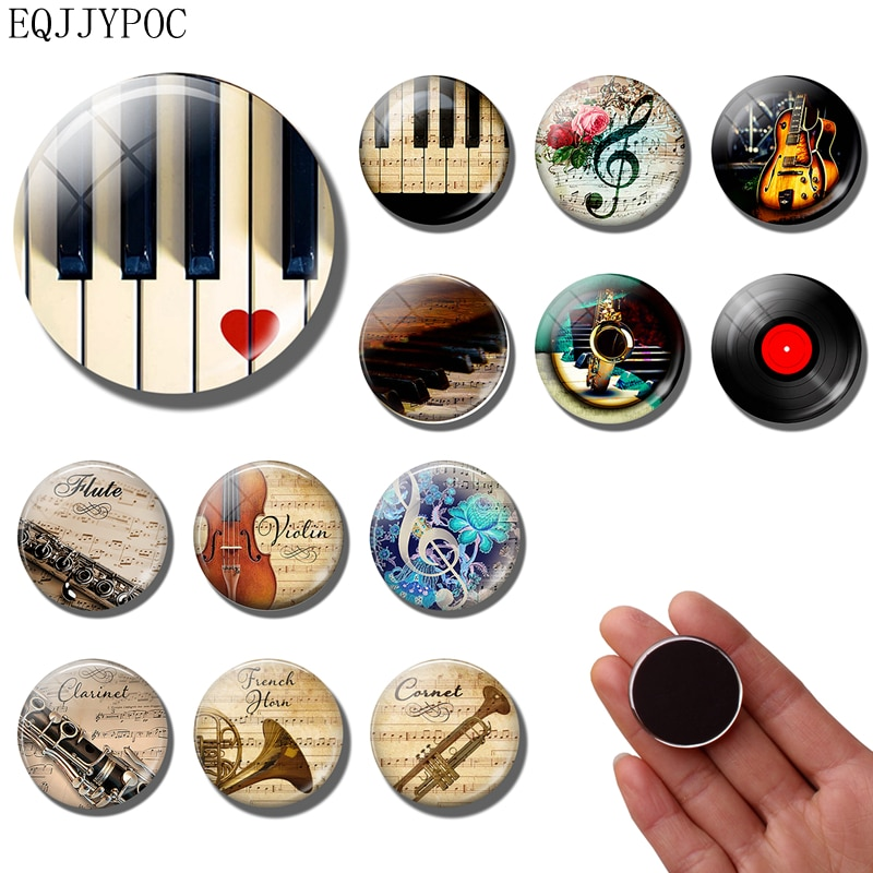 Музыкальная нотка, магнит на холодильник, музыкальный инструмент, пианино, гитара, флейта, 30 мм, магниты на холодильник, наклейка на холодильник, домашний декор