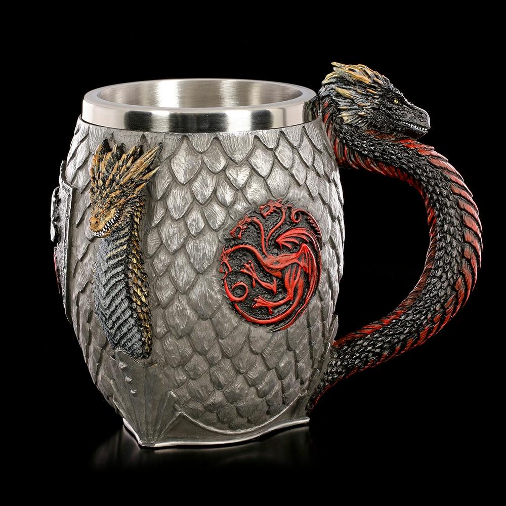 Juego de Tronos Taza casa Targaryen sangre y fuego Acero inoxidable dragón cerveza jarra tazas 400ml